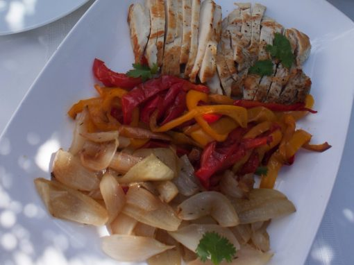 Seared Chicken With Roasted Peppers and Onions