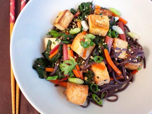 Stir fry with Tofu and Rainbow Chard
