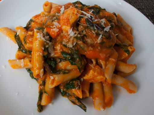 Red Pepper Tomato Sauce and Dandelion Greens with Gluten Free Pasta